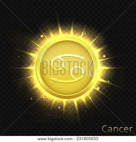 Cancer Sign. Horoscope Symbol With Sparkles, Glitters And Stars