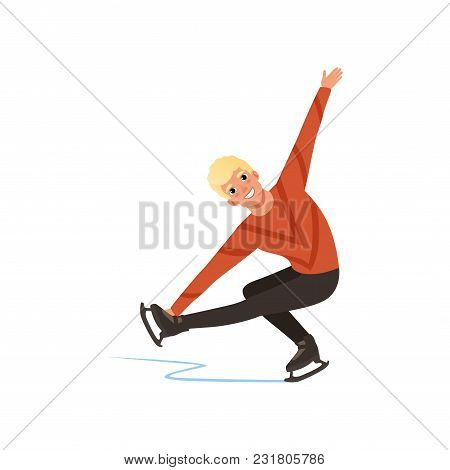 Young Figure Skater Man Skating, Male Athlete Practicing At Indoor Skating Rink Vector Illustration