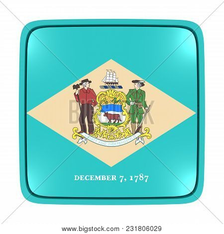 3d Rendering Of A Delaware State Flag Icon. Isolated On White Background.