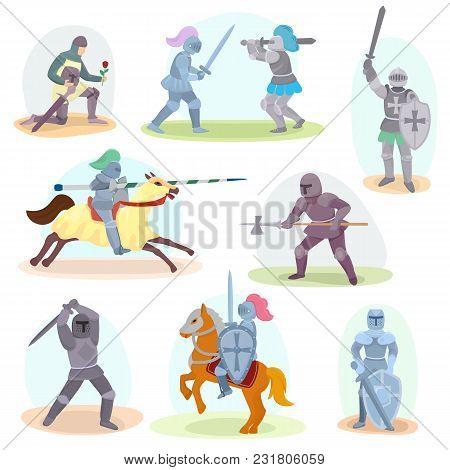 Knight Vector Medieval Knighthood And Knightly Character With Helmet Armor And Knightage Sword Illus
