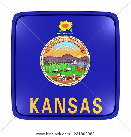 3d Rendering Of A Kansas State Flag Icon. Isolated On White Background.