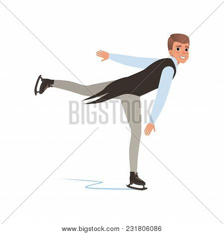 Cheerful Figure Skater Man Skating, Male Athlete Practicing At Indoor Skating Rink Vector Illustrati
