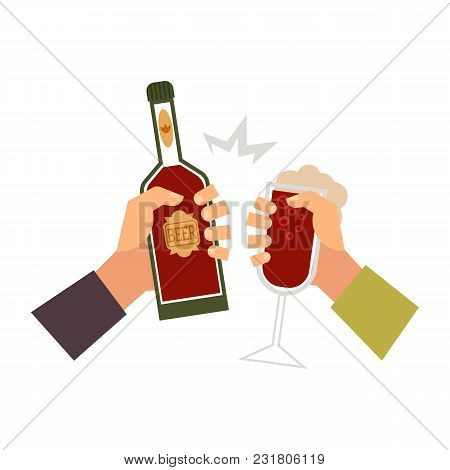 Vector Cartoon Man Hands Holding Glass Bottle Of Golden Lager Cool Beer And Glass Of Wine, Champagne