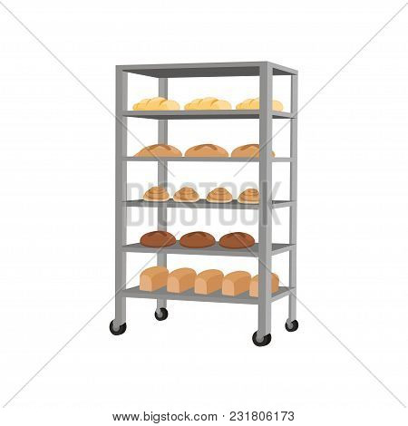Rack With Freshly Baked Bread Vector Illustration Isolated On A White Background.