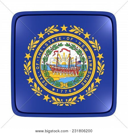 3d Rendering Of A New Hampshire State Flag Icon. Isolated On White Background.