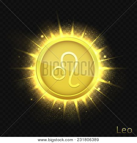 Leo Sign. Horoscope Symbol With Sparkles, Glitters And Stars