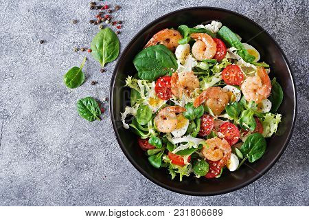 Healthy Salad Plate. Fresh Seafood Recipe. Grilled Shrimps And Fresh Vegetable Salad And Egg. Grille