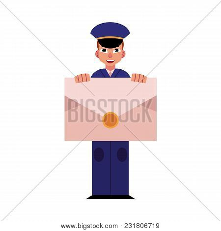 Cartoon Postman Cheerful Character Standing Smiling Holding Big Letter Or Mail. Man In Professional