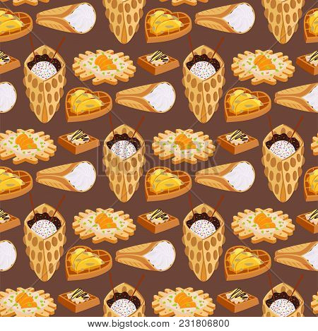 Wafer Cookies Seamless Pattern Background Waffle Cakes And Chocolate Pastry Cookie Biscuit Delicious