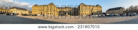 Wuerzburg , Germany - February 18 2018 : Front View Of The Royal Residence Palace In Wuerzburg.