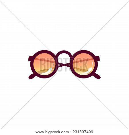 Vector Cartoon Travelling, Beach Vacation Symbol Beach Vintage Fashionable Sunglasses Purple Lens Ic