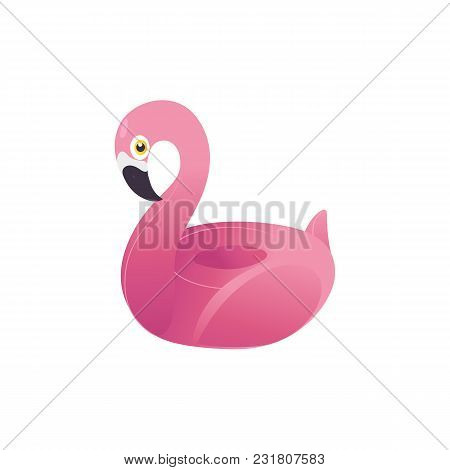 Vector Cartoon Pink Flamingo Inflatable Ring, Float Life Buoy. Pool Beach Party, Holiday Vacation, S