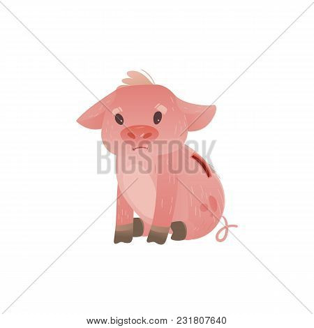 Cartoon Piggy Bank Icon. Sad Pig Money Box Without Savings With Unhappy Facial Expression. Business