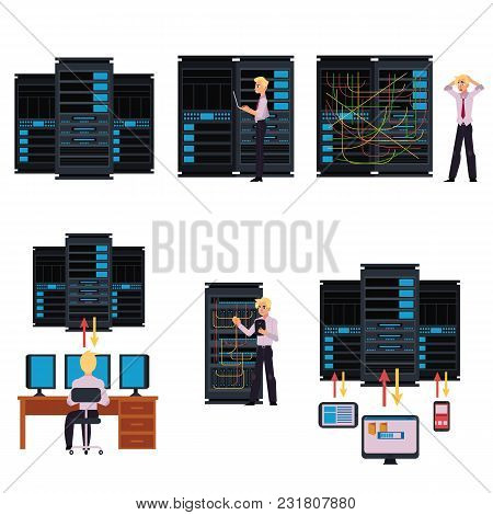 Set Of Server Room Images With Data Center And Young System Administrator Configuring Computer Netwo