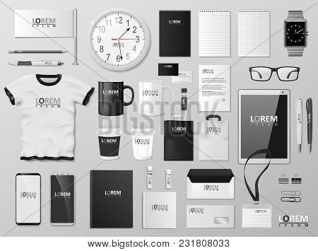 Corporate Branding Identity Template Design. Modern Stationery Mockup Black And White Color. Busines