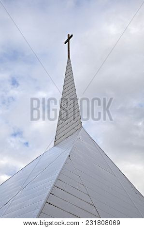 Spire Of The Modern Methodist Church In Tallinn, Estonia