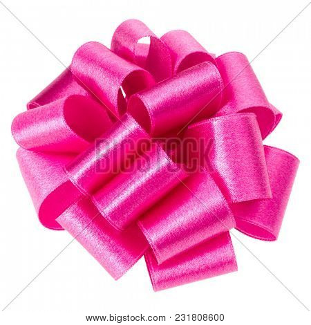 bid roun ribbon bow in pink color isolated on white background close up