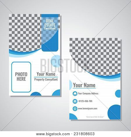 Business Vertical Identity Card Template Vector Design With Blue Wave Color Illustration