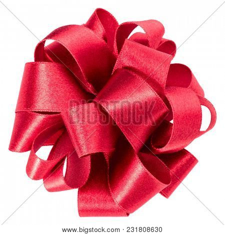 bid round bow in red color isolated on white background close up