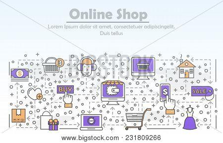 E-commerce Business Advertising Vector Illustration. Modern Thin Line Art Flat Style Design Element