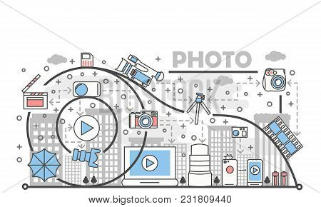 Photo Concept Vector Illustration. Modern Thin Line Art Flat Style Design Element With Photography E