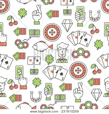 Vector Seamless Pattern With Decorative Gambling Symbols, Icons. Poker Card Game Background, Wrappin