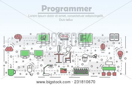 Programmer Advertising Vector Illustration. Modern Thin Line Art Flat Style Design Element With Prog