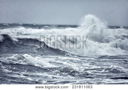 Destructive Waves Of The Ocean During A Storm, Storm Waves On The Sea