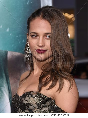LOS ANGELES - MAR 12:  Alicia Vikander arrives for the 'Tomb Raider' US Premiere on March 12, 2018 in Hollywood, CA
