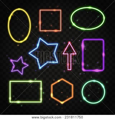Collection Of Colorful Neon Frames With Space For Text. Set Of Transparent Electric Light Borders Is