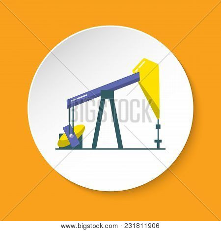 Oil Rig Icon In Flat Style On Round Button. Exploration And Oil Production Symbol Isolated On White.