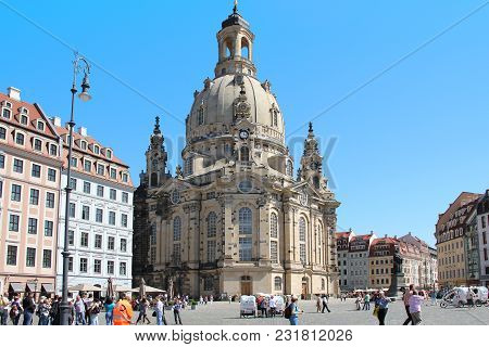 Dresden, Germany - April 27, 2012: Frauenkirche Is A Majestic Lutheran Church In The Baroque Style,
