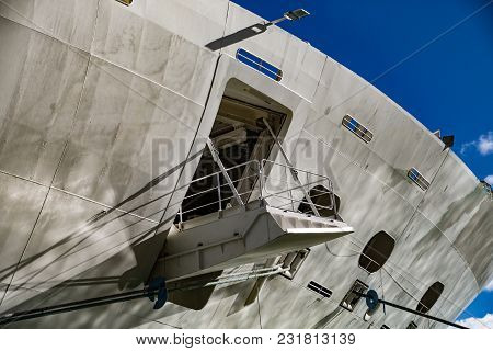 The Open Hatch In Hull Of Cruise Ship