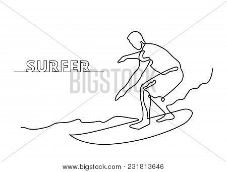 Continuous Line Drawing Of Surfer On A Surfboard On Wave. Vector Illustration