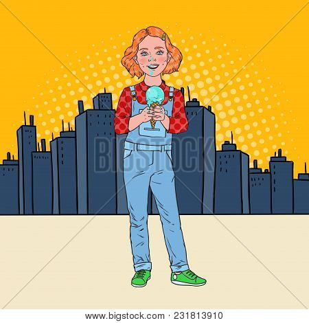 Pop Art Little Girl Eating Tasty Ice Cream In Front Of The City. Cute Happy Child Tastes Cold Desser