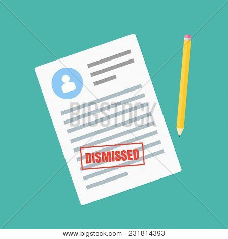 Form Of Dismissal. Claim Form In A Flat Style Isolated On A Blue Background. Vector Illustration.