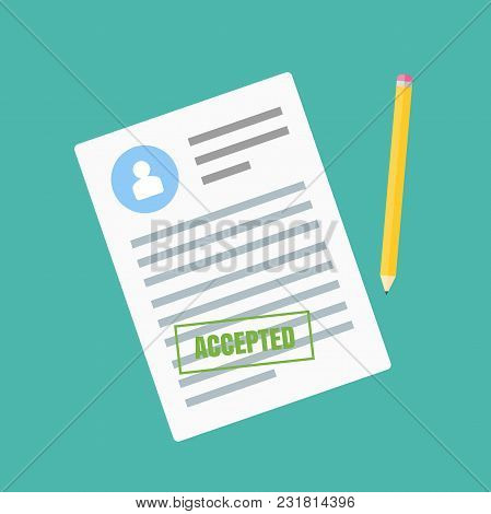 The Form Of Employment. Claim Form In A Flat Style Isolated On A Blue Background. Vector Illustratio