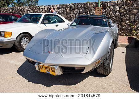 Beit Nir, Israel - March 17, 2018: Vintage Chevrolet Corvette Car Presented On Oldtimer Car Show, Is