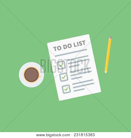 Claim Form, To Do List With Pencil And Coffee Cup. Flat Style Isolated On A Green Background. Vector
