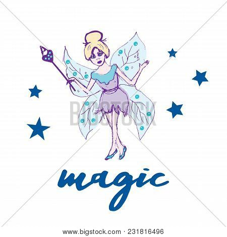 Fairy Set. Beautiful Girl In Fying Fairy Costumes. Winged Elf Princesses In Cartoon Style. Vector Il