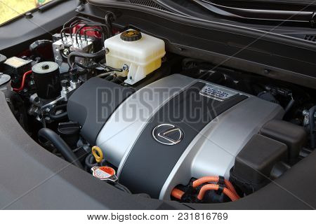 BUDAPEST, HUNGARY - OCTOBER 25, 2017: Engine bay of a hybrid drive Lexus Rx450h. Toyota and Lexus have the most successful hybrid system in the automotive industry