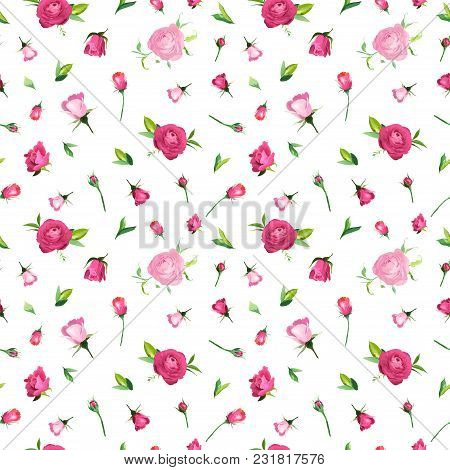 Summer Floral Seamless Pattern With Pink Roses. Botanical Background With Flowers For Fabric Textile