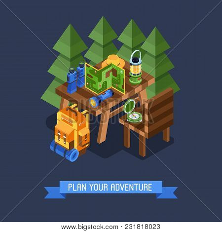 Isometric Hiking Banner With Hike Elements And Accessories. Camping Concept Background With Isometry