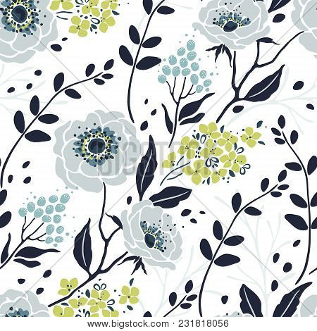 Seamless Pattern With Abstract Flowers Anemone, Hydrangea, Branches And Leaves. Vector Floral Illust