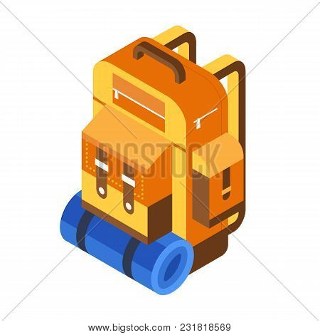 Retro Hiking Backpack Isometric Icon. Tourist Rucksack With Sleeping Bag In Isometry. Orange Camping
