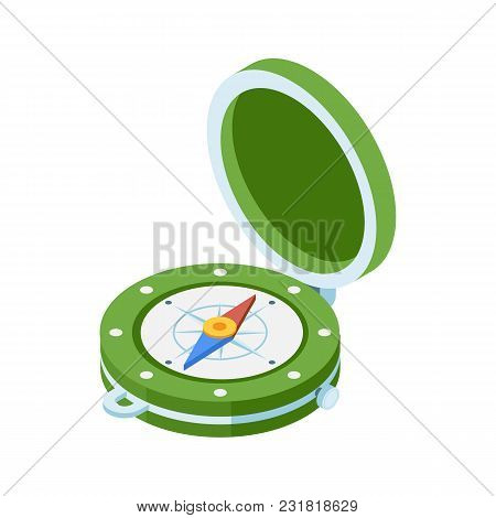 Green Compass Isometric Icon. Navigation Equipment With Wind Rose. Old Vintage Compass Vector Illust