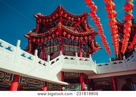 Beatiful Thean Hou Temple, Kuala Lumpur Attraction. Travel To Malaysia. Architecture Background. Rel
