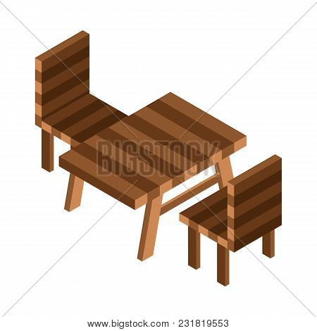 Camping Or Picnic Table Isometric Icon. Rest Area Illustration With Garden Wooden Table And Chairs I
