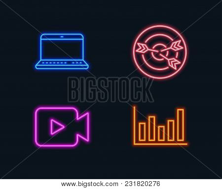 Neon Lights Set Of Video Camera Targeting And Notebook Icons Column Chart Sign Movie Or Cinema Target With Arrows Laptop Computer Financial Graph