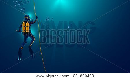 One Scuba Diver Underwater. Back View. Diver Look On Big Logo Diving Club Underwater. Diver Dives To